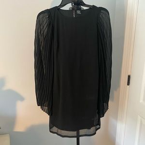 Black straight dress with wide flare sheer sleeves